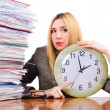 Busy woman with clock on white — Stock Photo
