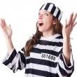 Convict criminal in striped uniform - Foto Stock