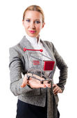 Attractive woman with shopping cart — Stock Photo