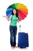 Girl departing for summer vacation — Stock Photo