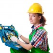 Young woman with toolkit on white - Foto de Stock