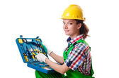 Young woman with toolkit on white — Stock Photo