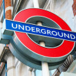 Stock Photo: London underground symbol on street