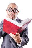 Empresário engraçada de nerd em branco — Fotografia Stock