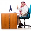 Arab businessman in business concept on white — Stock Photo
