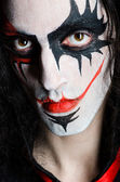 Close up of evil clown face — Stock Photo