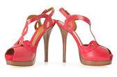 Zapatos de mujer con estilo rojo aislados en el blanco — Foto de Stock