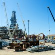 Stock Photo: Offshore drilling during construction onshore