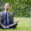 Stock Photo: Young businessman meditating in the garden