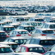 TUSCANY, ITALY - 27 June: New cars parked at distribution center - ストック写真