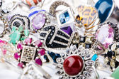 Collection of jewellery rings on white — Stock Photo