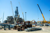 Offshore drilling during construction onshore — Stock Photo