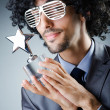 Stock Photo: Singer receiving star prize award