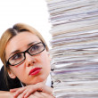 Stock Photo: Wombusinesswomwith lots of papers