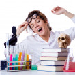 Crazy female chemist in lab — Stock Photo #22185737
