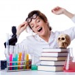 Crazy female chemist in lab — Stock Photo