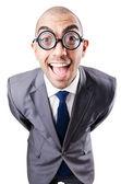 Uomo d'affari divertenti nerd su bianco — Foto Stock