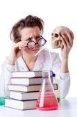 Bláznivé ženské chemik v laboratoři — Stock fotografie