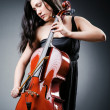 Stock Photo: Womcellist performing with cello