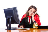 Superwoman worker working in office — Stock Photo