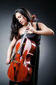 Woman cellist performing with cello — Stock Photo