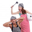 Pair of funny cooks on white - Stock Photo