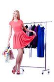 Mujer ropa nueva en blanco — Foto de Stock