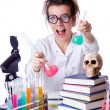 Crazy female chemist in lab — Stock Photo #22565869