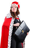 Queen businesswoman isolated on the white — Stock Photo