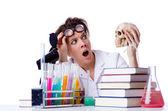 Crazy female chemist in lab — Stock Photo
