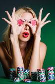 Casino iskambil kadın — Stok fotoğraf