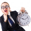 Nerd businesswoman with gian alarm clock - Foto de Stock