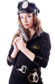 Mujer policía aislado en el blanco — Foto de Stock