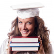 Graduate with book isolated on white — Stock Photo