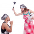 Pair of funny cooks on white — Stock Photo #22945772