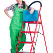 Woman repair worker with ladder — Stock Photo #22945804