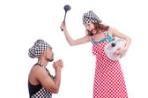 Pair of funny cooks on white — Stock Photo