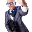 Photo: Funny nerd businessman on the white