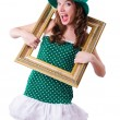 Young girl in saint patrick celebration concept — Stock Photo #22954174