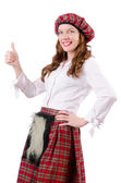 Young woman in traditional scottish clothing — Stock Photo