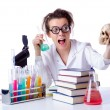 Crazy female chemist in lab — Stock Photo #23152832