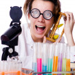 Crazy woman chemist in lab — Foto de Stock