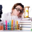 Stock Photo: Crazy womchemist in lab