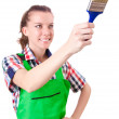 Royalty-Free Stock Photo: Woman painter with paintbrush on white