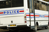 Police bus on the street — Stock Photo
