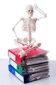 Skeleton with pile of files on white — Stock Photo