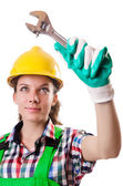 Woman worker isolated on the white — Stock Photo
