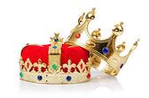 国王王冠上白色隔离 — 图库照片