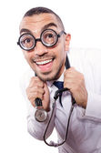 Engraçado médico isolado no branco — Fotografia Stock