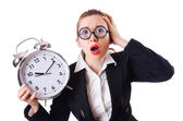 Woman businesswoman with giant clock — Foto Stock